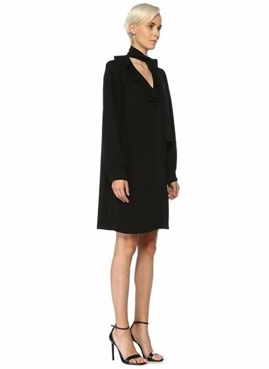Beymen Collection Yakası Fularlı Uzun Kol Midi Elbise Siyah